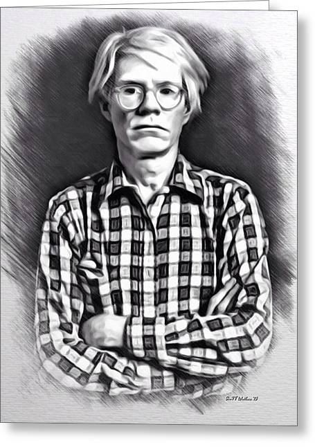 1987 Digital Art Greeting Cards - Andy Warhol Portrait Greeting Card by Scott Wallace