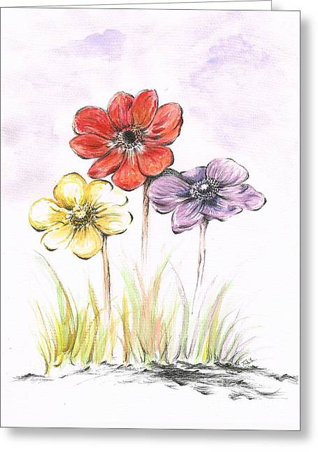 Vivid Colour Drawings Greeting Cards - Anemone Flowers Greeting Card by Teresa White