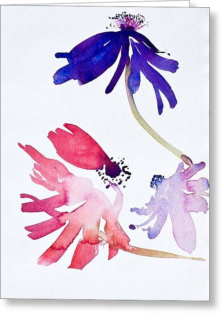 Blue And Green Greeting Cards - Anemones II Greeting Card by Simon Fletcher