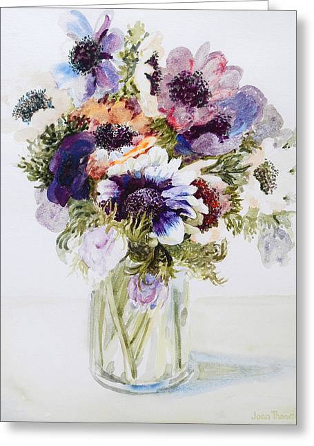 Water Jug Greeting Cards - Anemones in a Glass Jug Greeting Card by Joan Thewsey
