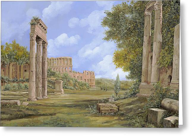 Ruins Paintings Greeting Cards - Anfiteatro Romano Greeting Card by Guido Borelli