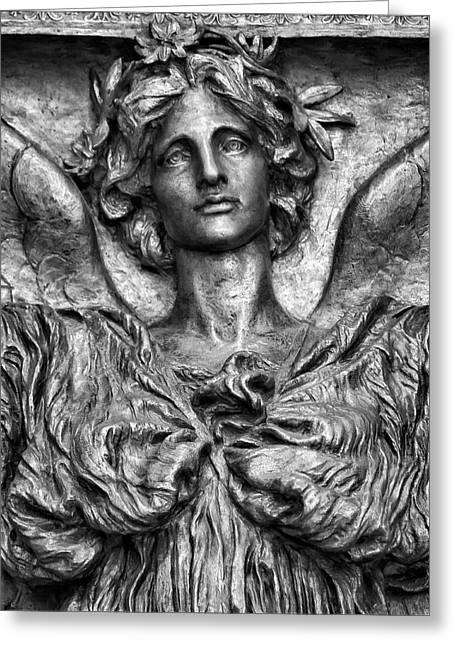 Bronze Sculpture Greeting Cards - Angel - Bronze Greeting Card by Robert Ullmann
