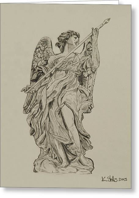 Historic Statue Drawings Greeting Cards - Angel 2 Greeting Card by Kenneth Stotts