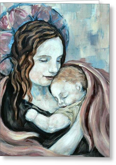 Carrie Joy Byrnes Greeting Cards - Angel and Baby no. 5 Greeting Card by Carrie Joy Byrnes