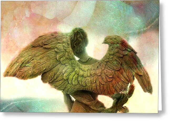 Angel Art Dreamy Surreal Whimsical Angel Art Wings Print - Impressionistic Angel Art Greeting Card by Kathy Fornal