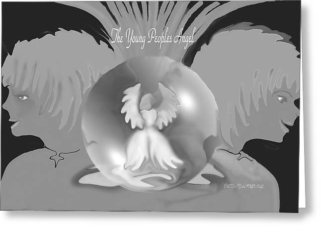 Sherri Painting Greeting Card featuring the digital art Angel Art  Guardian Angel by Sherri  Of Palm Springs