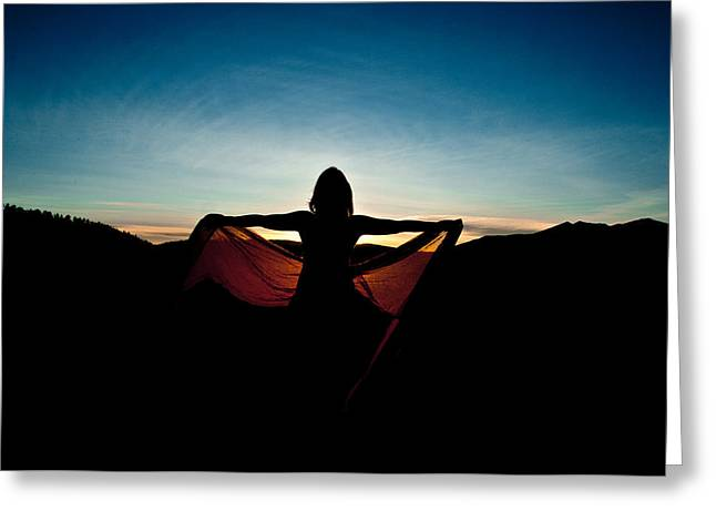 Angel At Sunset Greeting Card by Scott Sawyer
