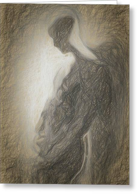 Angel Backlit Greeting Card by Quim Abella