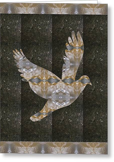 Anjo Greeting Cards - Angel Bird made of Crystal Stone Healing RareEarth material with border Greeting Card by Navin Joshi