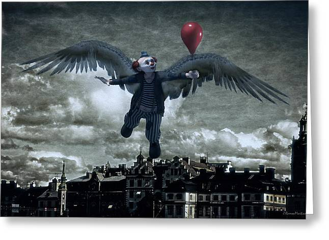 Angel Clown With Balloon Greeting Card by Ramon Martinez