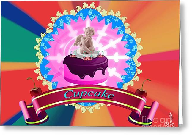 Sign. Cupcakes Greeting Cards - Angel Cupcake Greeting Card by Artist Nandika  Dutt