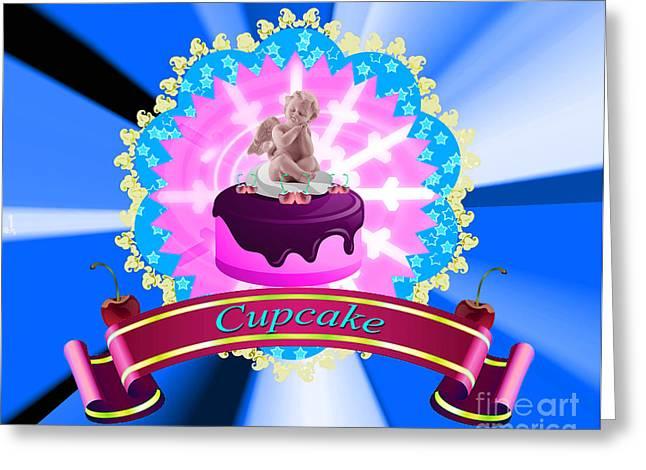 Sign. Cupcakes Greeting Cards - Angel Cupcake V2 Greeting Card by Artist Nandika  Dutt