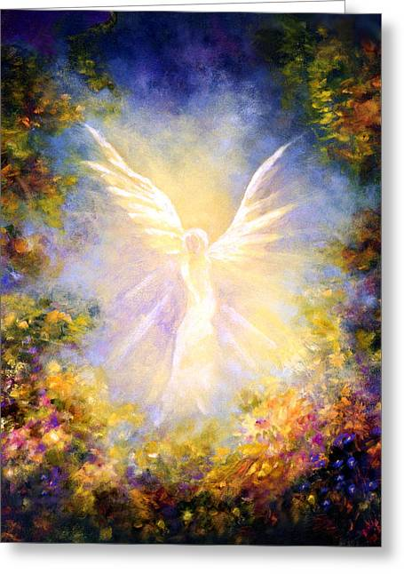 Religious Greeting Cards - Angel Descending Greeting Card by Marina Petro