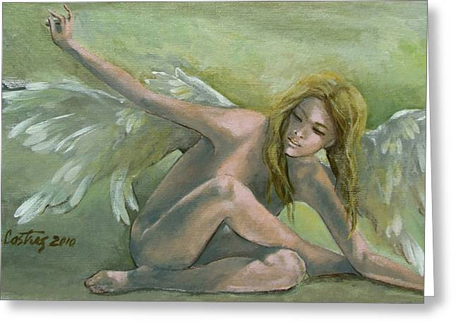 Angel Art Greeting Cards - Angel Greeting Card by Dorina  Costras