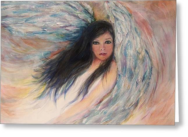 Angel Blues Greeting Cards - Angel Eyes Greeting Card by Carolyn Gray