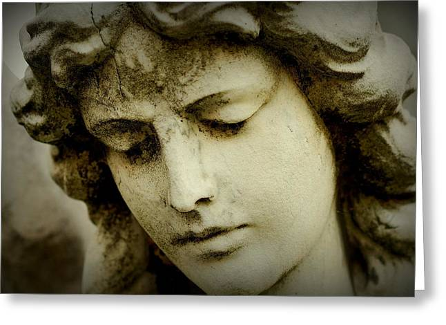 Statue Portrait Greeting Cards - Angel Face Greeting Card by James DeFazio