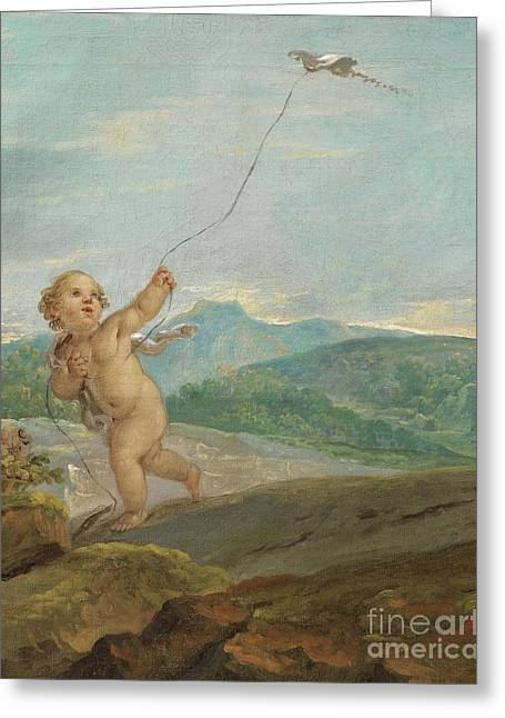 Kite Paintings Greeting Cards - Angel Flying A Kite Greeting Card by Etienne Parrocel