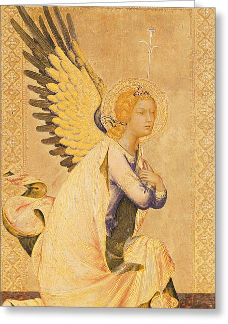 Gold Angel Greeting Cards - Angel Gabriel  Greeting Card by Simone Martini