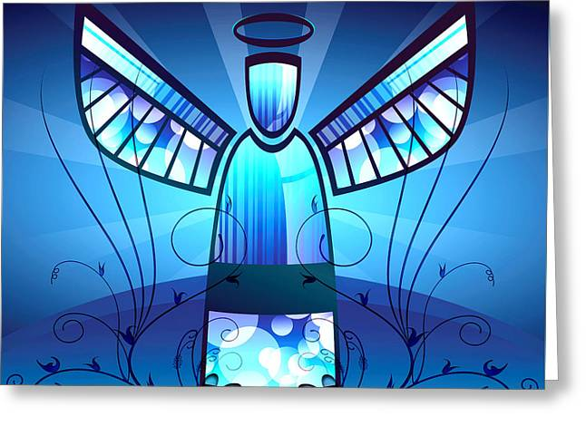 Bokeh Mixed Media Greeting Cards - Angel Glass Greeting Card by Georgiana Romanovna