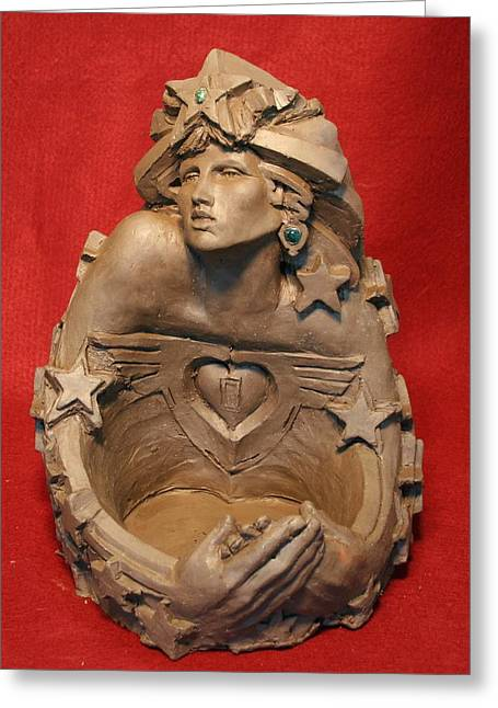Shows Sculptures Greeting Cards - Angel Heart Greeting Card by Larkin Chollar