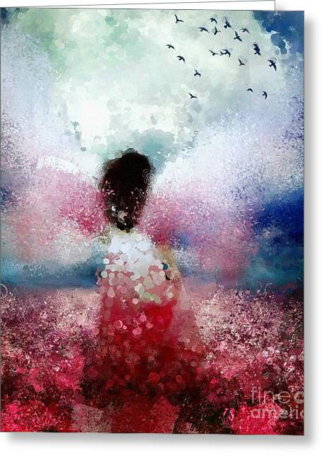 Angel Blues Greeting Cards - Angel Hotty Totty Style Greeting Card by Catherine Lott
