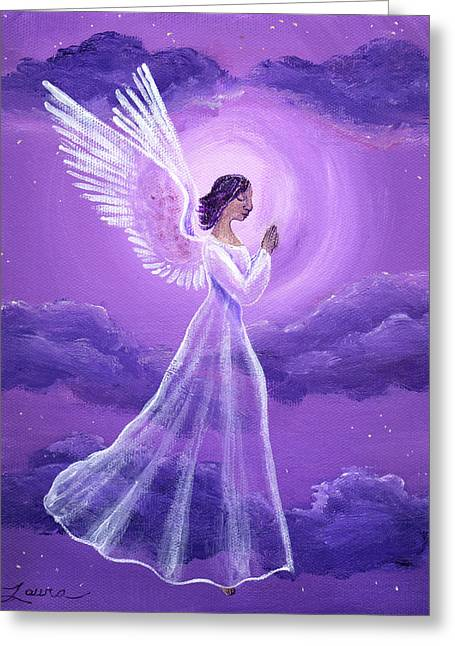 Religious Angel Art Greeting Cards - Angel in Amethyst Moonlight Greeting Card by Laura Iverson
