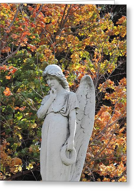 Pensive Greeting Cards - Angel in Autumn Greeting Card by Bill Tomsa
