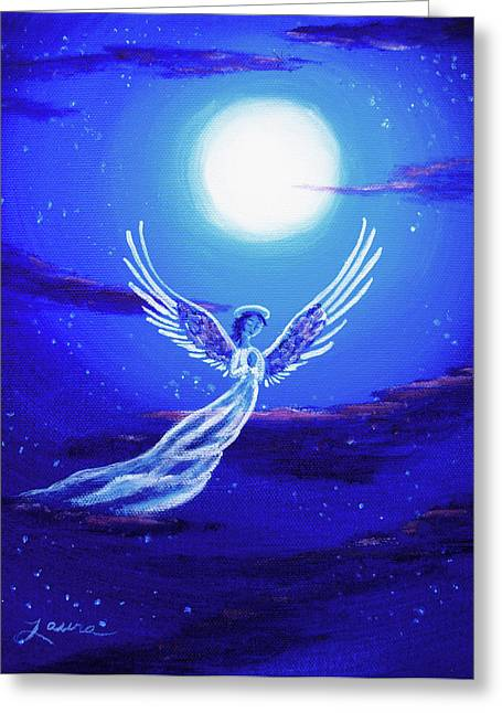 Religious Angel Art Greeting Cards - Angel in Blue Starlight Greeting Card by Laura Iverson