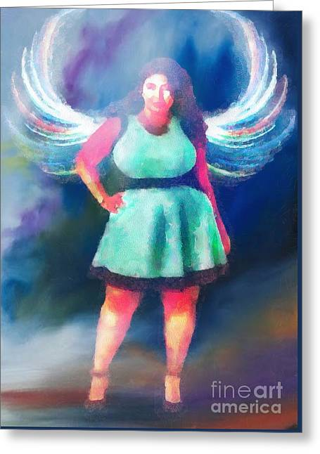 Angel Blues Greeting Cards - Angel In Fragments Greeting Card by Catherine Lott