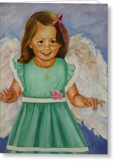 Girls Greeting Cards - Angel in Green Greeting Card by Joni M McPherson