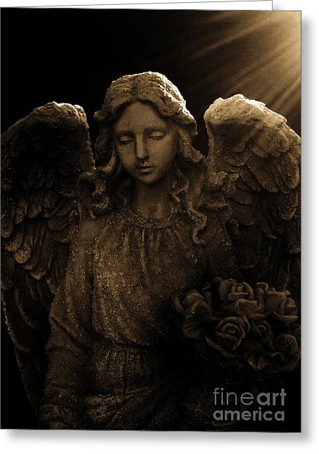 Print Sculptures Greeting Cards - Angel in Light Greeting Card by Nathan Little