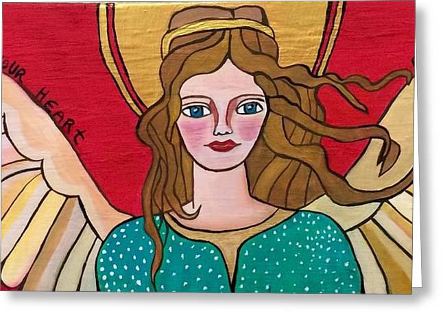 Wishes Greeting Cards - Angel in love Greeting Card by Claudia Leite