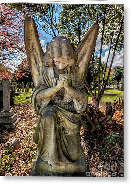 Angel In Prayer Greeting Card by Adrian Evans