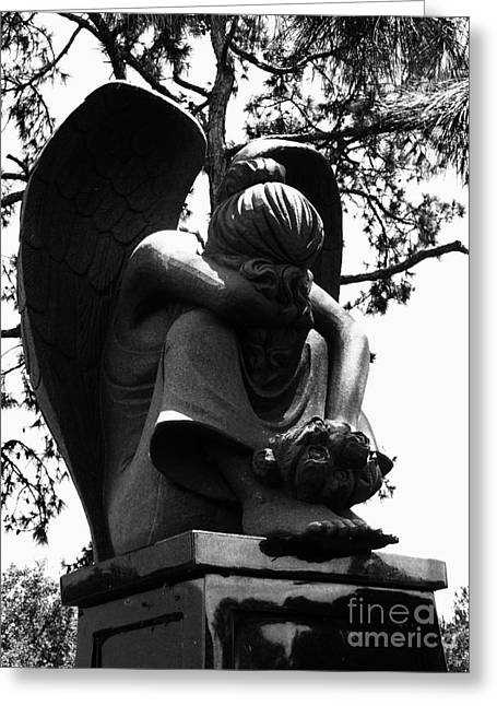 Landscapes Sculptures Greeting Cards - Angel in Sorrow Black and White Greeting Card by Nathan Little