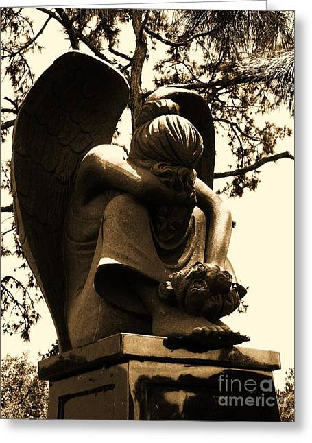Landscapes Sculptures Greeting Cards - Angel in Sorrow in Sepia Greeting Card by Nathan Little