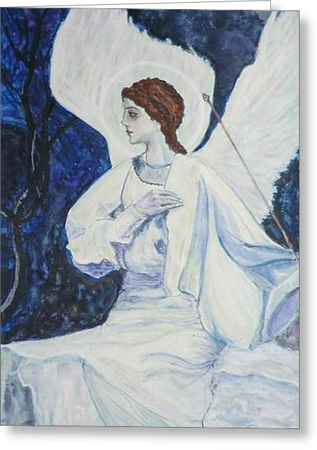 Angel Blues Greeting Cards - Angel in Waiting Greeting Card by Olga Dytyniak