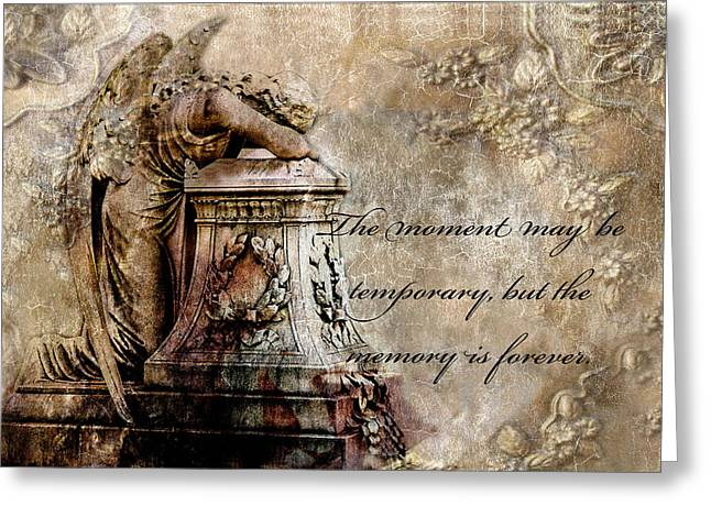 Surreal Angel Art Greeting Cards - Angel Laying On Coffin Inspirational Angel Art Greeting Card by Kathy Fornal