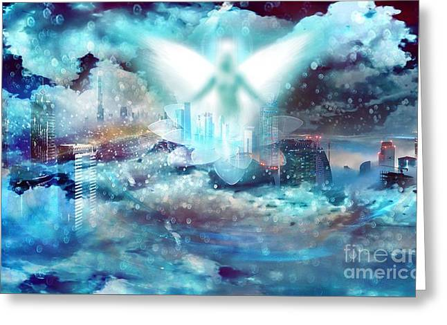 Night Angel Greeting Cards - Angel Greeting Card by LDS Dya