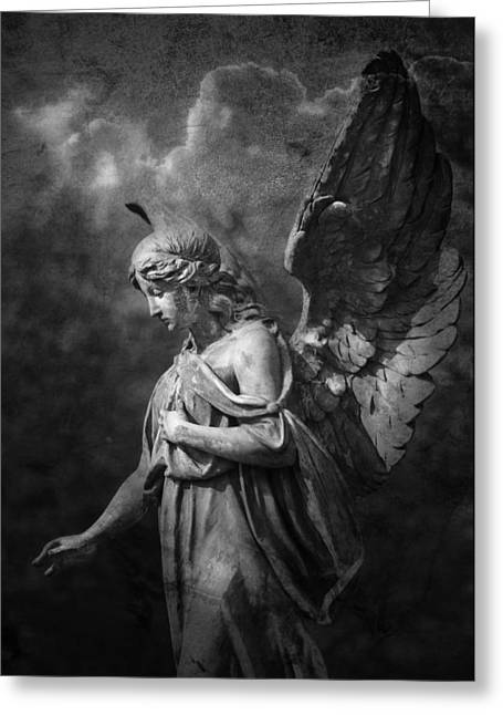 Recently Sold -  - Night Angel Greeting Cards - Angel Greeting Card by Marc Huebner