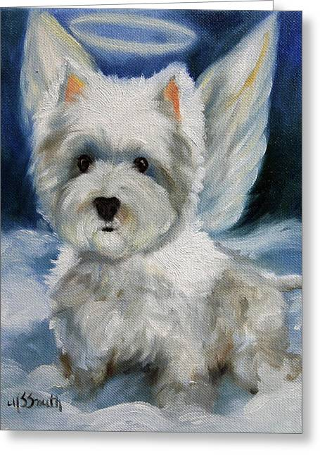 Christmas Art Greeting Cards - Angel Greeting Card by Mary Sparrow