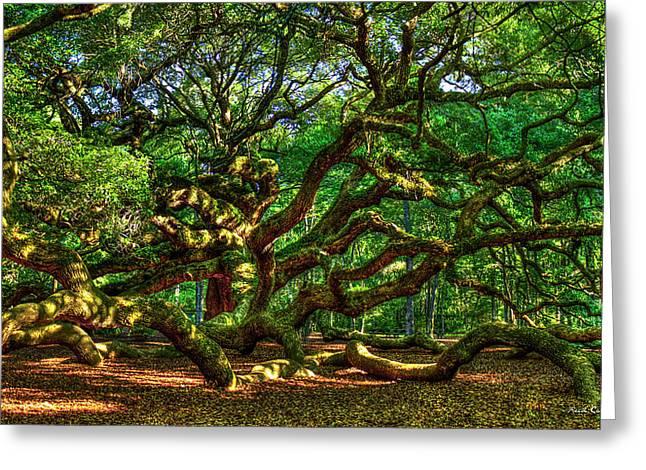 Angel Oak Morning Shadows Charleston South Carolina Greeting Card by Reid Callaway