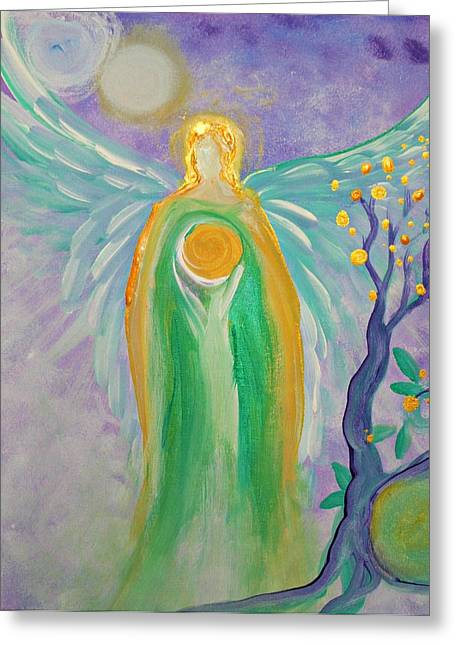 Empower Greeting Cards - Angel of Acceptance Greeting Card by Alma Yamazaki