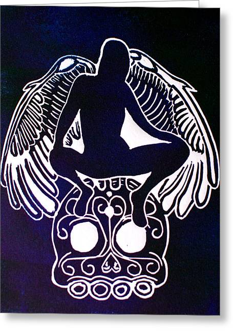 Linocut Greeting Cards - Angel of Death Momento Mori Greeting Card by Troy Beglinger