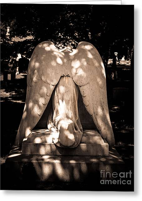Weeping Greeting Cards - Angel Of Grief Greeting Card by K Hines