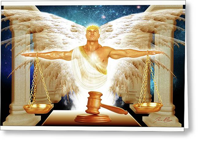 Angel Of Justice Greeting Card by Jennifer Page