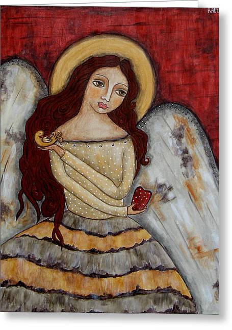 Devotional Art Paintings Greeting Cards - Angel of kindness Greeting Card by Rain Ririn
