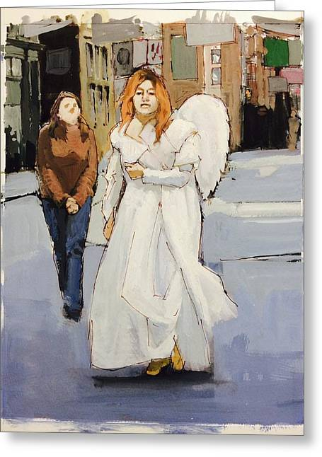 Gouache Photographs Greeting Cards - Angel of New York Greeting Card by H James Hoff