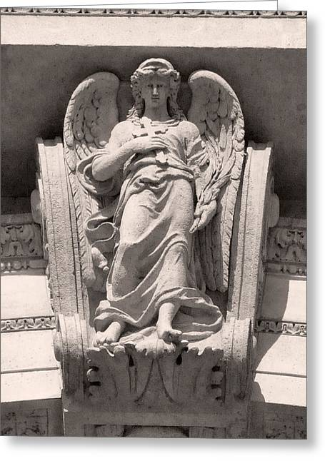 Angel Reliefs Greeting Cards - Angel of St Stephens Basilica Budapest Greeting Card by James Dougherty