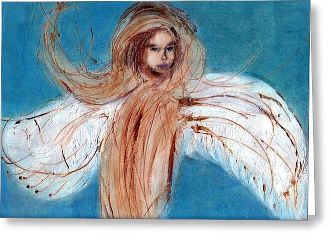 Divine Spark Greeting Cards - Angel of the Day Star Greeting Card by Michela Akers