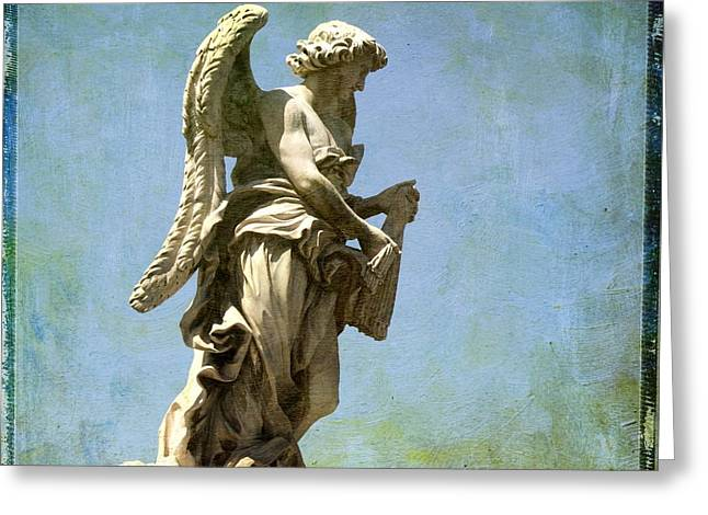 Entire Greeting Cards - Angel. Ponte SantAngelo. Rome Greeting Card by Bernard Jaubert